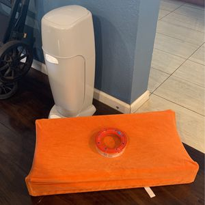 Diaper Genie, 1.5 Refills, Changing Table Sturdy Pad, Changing Table Orange Cover for Sale in Huntington Beach, CA