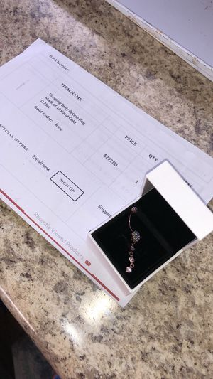 Used, Dangling belly button ring made of 14 karat gold for Sale for sale  The Bronx, NY