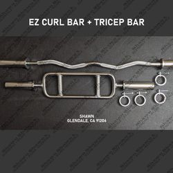 OLYMPIC EZ CURL BAR + OLYMPIC TRICEPS BAR COMBO for Sale in Glendale,  CA
