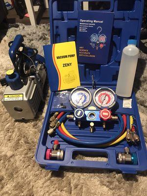 4CFM 1/3 HP Air Vacuum Pump HVAC Refrigeration KIT A/C Manifold Gauge Set Combo OPEN BOX for Sale in Montclair, CA