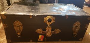Genuine antique metal trunk coffee cocktail table for Sale in Peoria, IL