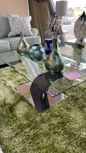 Glass Coffee Table with Wooden Middle Support and Chrome Base 99G for Sale in Euless, TX