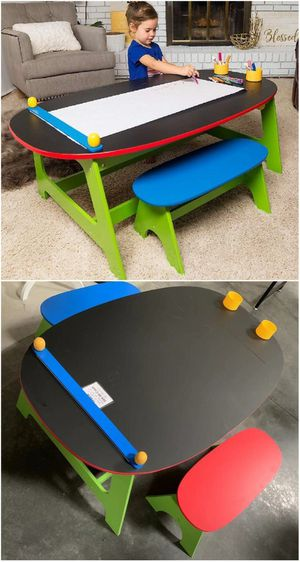 """New in box kids activity table 47""""x28""""x17"""" tall and 2 bench children kids chalk board top furniture for Sale in Whittier, CA"""