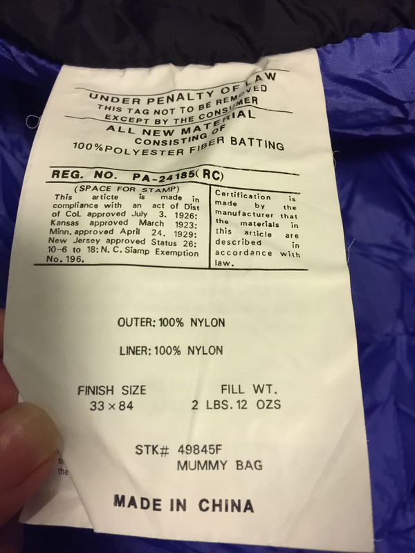 Sleeping Bag $50