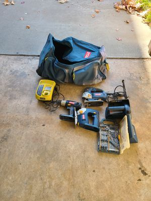 """Ryobi 18v Drill, 10"""" Chainsaw, 2 Jigsaws, Charger, and Bag with Wheels for Sale in Elk Grove, CA"""