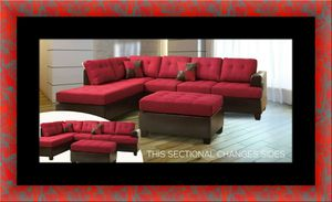 Red sectional with ottoman for Sale in Washington, DC