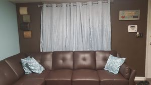 Fairly new sofa modern look and sleek look ill throw in curtains couch pictures pillow for Sale in Washington, DC