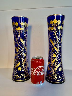 BOHEMIA GLASS Vintage Czech Cobalt-Blue/Gold Handpainted Floral Bud Vases (Set of 2) for Sale in Dade City, FL