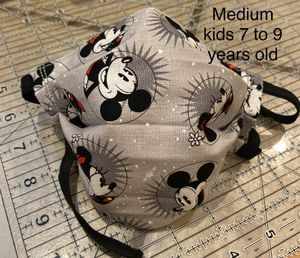 Handmade (Disney) Mickey & Minnie Mouse Medium kids face mask fits 7 to 9 years old with Adjustable ear straps and nose wire for Sale in Fontana, CA