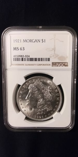 1921 Morgan Silver Dollar in MS-63 grade NGC for Sale in Gaithersburg, MD