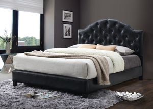 Black queen bed frame scallop headboard for Sale in Baltimore, MD