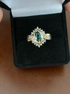 10k gold emerald and diamonds ring size 6.5 for Sale in Weymouth, MA