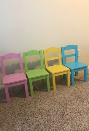 4 toddler colorful chairs 10 inch tall for Sale in Nashville, TN