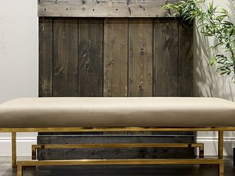 """Rubin Bench in sand and gold. 18"""" H x 54"""" W x 16"""" D. MSRP $619. Our price $425 + sales tax for Sale in Woodstock,  GA"""