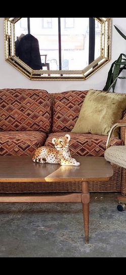 Rattan Flamestitch Loveseat + Mid-century Coffee Table for Sale in Brooklyn,  NY