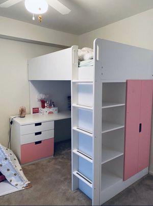 IKEA loft bed w desk/ pink for Sale in St. Louis, MO