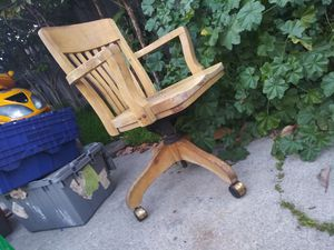 Antique wooden chair it's pivots and rolls good condition 65 years old for Sale in Mountain View, CA