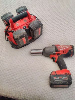Milwaukee M18 Fuel 1/2 Impact Wrench with 5 Battery Charger Station for Sale in Saint ANTHNY VLG, MN