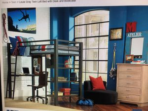 Gray Twin Loft Bed with desk and Bookcase for Sale in Annandale, VA