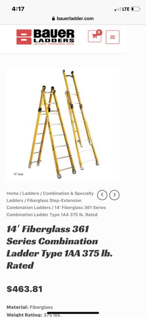 14′ Bauer Fiberglass Combination Ladders Type 1AA 375 lb. Rated for Sale in Portland, OR