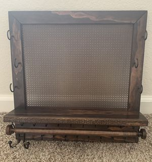 """Jewelry Organizer - 16"""" x 16"""", dark cherry/ebony stained with wall mounts for Sale in Denver, CO"""