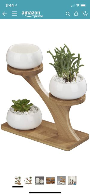 New Planter Pots Indoor, 3 Pack 3 Inch White Ceramic Decorative Small Round Succulent Cactus Flower Plant Pot with Tree Tier Bamboo Stand for Sale in Tampa, FL