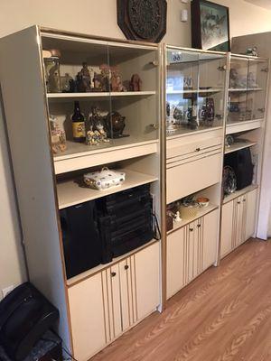 Large Entrertainment Curio Center, Lighted,Glass Doors,Shelves,Cabinet Storage,Beige for Sale in Ocala, FL