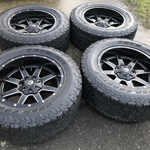 20 INCH FUEL DEEP DISH WHEELS AND TIRES, 8 Lug for Sale in Auburn, WA