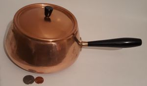"Vintage Metal Copper and Brass Cooking Pot, Made in Japan, 13"" Long and 7"" x 4"" Pan Size, Cooking Pan, Kitchen Decor, Shelf Display for Sale in Lakeside, CA"