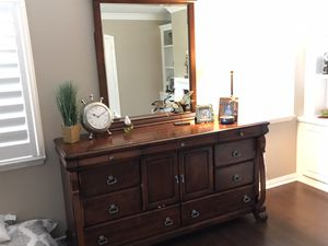 Wood Dresser with 9 Drawers plus Cabinet and Mirror for Sale in Temecula, CA