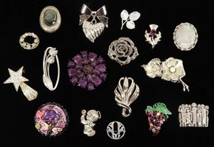 Lot of (17) Vintage Sparkly Rhinestone Silver-Tone Purple Elegant Fancy Brooches for Sale in Kent, WA