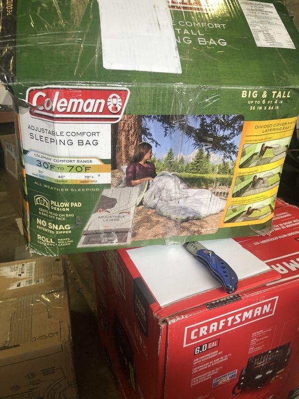Coleman big tall sleeping bag up to 6'4