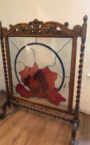 Antique Wood Carved Stained Glass Fire Screen for Sale in Agoura Hills, CA
