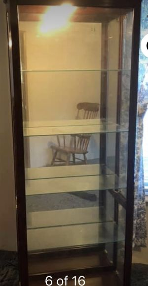 Curio Cabinets 5 Shelf Curio Cabinet with Mirrored Back & Can Lighting 4 adjustable glass shelves Only issue with cabinet is left side holds the gl for Sale in Rockvale, TN