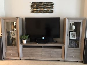 Beautiful Like-New Driftwood Entertainment Center (Wall Unit) for Sale in Orlando, FL