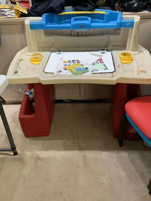Kids desk by step2 plenty of storage for kids ages 2 to 5. For drawing painting coloring toys book storage toys for Sale in Torrance, CA