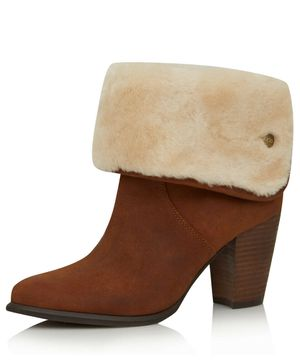 UGG Layna Brown Tan Oiled Suede Sheepskin Heeled Boot 6.5 US for Sale in Miami, FL