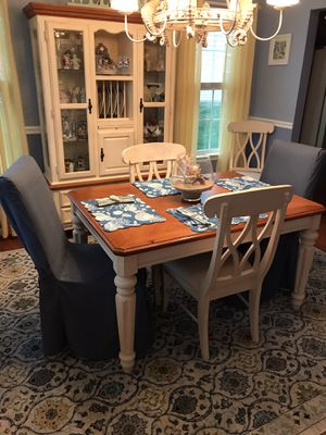 Dining table with leaf carved legs and 6 chairs for Sale in Milton, DE