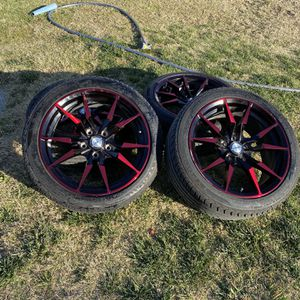 Red And Black Rims 5 Lugs 17s 215 45 R17 for Sale in Fresno, CA