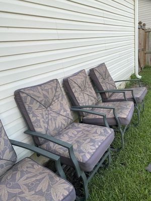 Dark green metal outdoor chairs with cushions for Sale in Richlands, NC