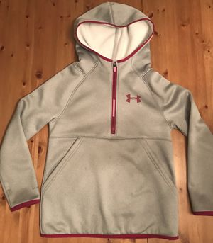 Under Armour Junior Girls Storm Hoodie Pull Over 1/4zipper Loose Fit Kangaroo Pocket Size M 10-12 for Sale in Alexandria, VA