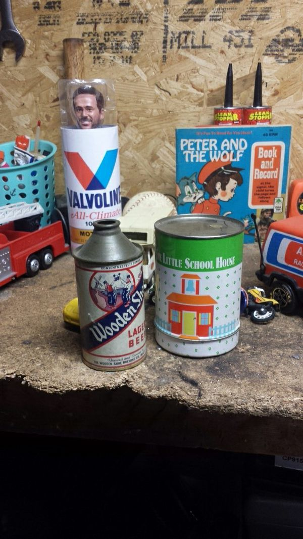 Vintage toys books tin cans vintage toys toy cars collectible baseball Tinker Toys 45 record