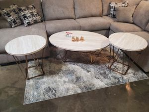 3 PC Coffee Table Set, White/Chrome for Sale in Huntington Beach, CA