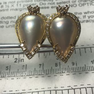 18k yellow gold pearl & diamond earrings for Sale in Baltimore, MD