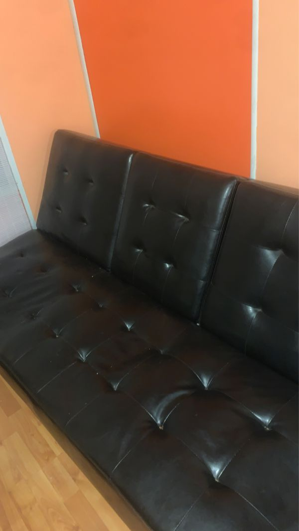Reclining leather futon