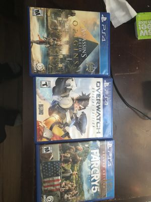 PS4 Games For Sale Grab Today !! OVERWATCH ORIGINS EDITION, FARCRY 5, ASSASSINS CREED ORIGINS Grab today for 20$ for Sale in New Britain, CT