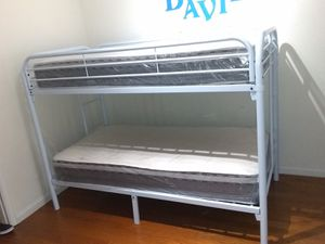 Twin over twins bunk beds frame and free delivery New in the box with the mattress and free set up for Sale in Miami, FL