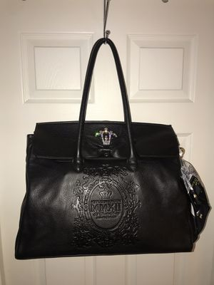 My Flat In London Brighton Large Black Leather Tote Bag With Crown Rhinestones and Bow for Sale in Winter Springs, FL