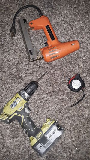 Some tools I got laying around Roby screw gun drill. Also a nail gun and tape measure. for Sale in Philadelphia, PA