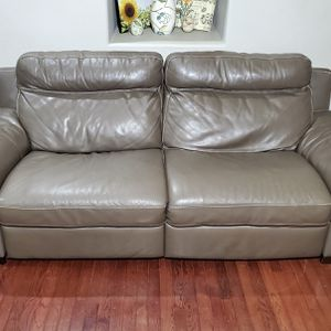 Natuzzi Dark Beige Genuine Leather Wide 2-Seat Electric Recliner Couch for Sale in West Linn, OR